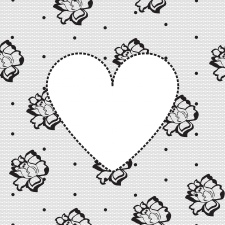 seamless background with a heart on a black floral lace Vector