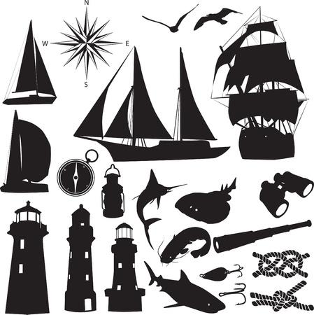 silhouettes symbolize the marine leisure Vettoriali