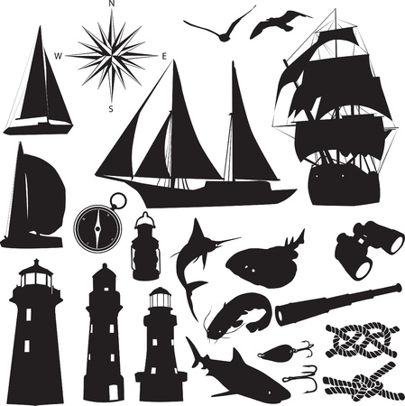 Lighthouse: silhouettes symbolize the marine leisure Illustration