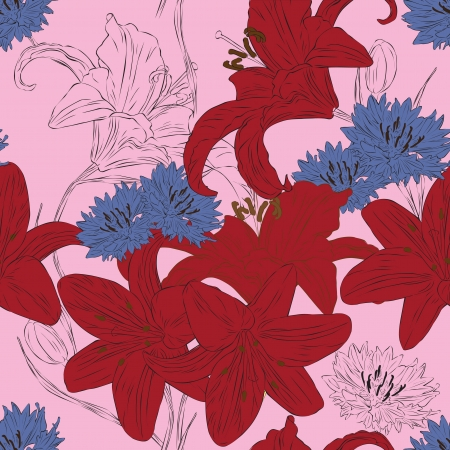 seamless background with red lilies and purple cornflowers Vector