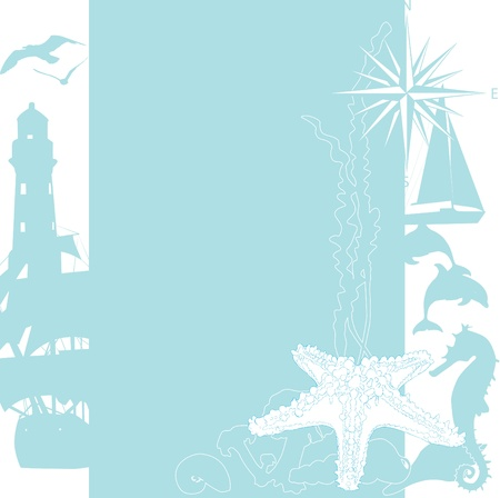 windrose: sea background with silhouettes in the blue and white
