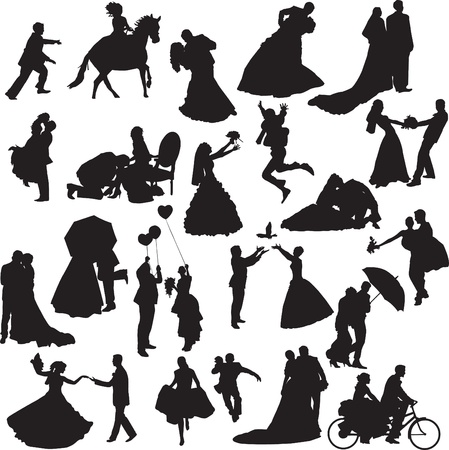 collection of different silhouettes of wedding couples in different situations Vector
