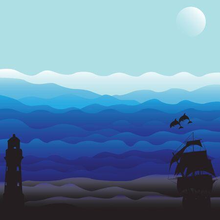nbsp: Marine background with dark silhouettes