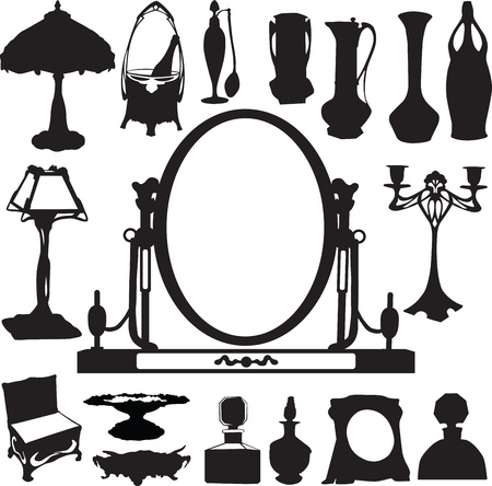 Silhouettes of vintage ladies items Vector
