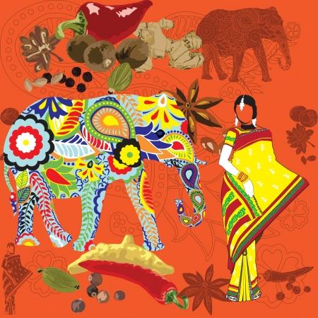 インド: 明るい背景のインドのシンボルのシンボルに