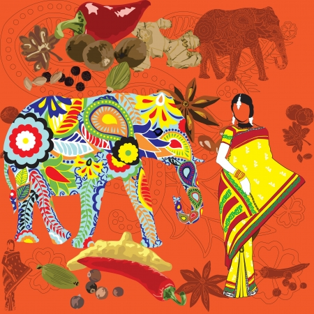 india pattern: bright background with the symbols of the symbol of India