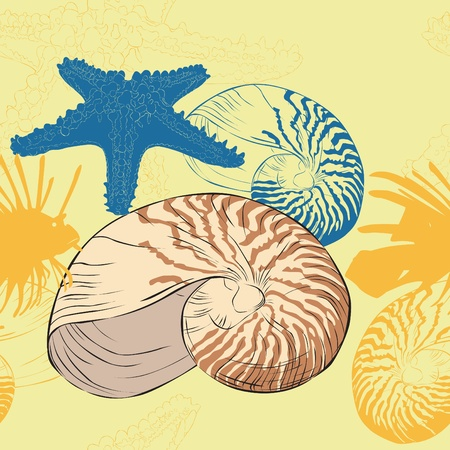 Seamless background of marine life with shells and starfish Vector
