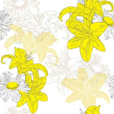 Seamless floral background with lilies and daisies Stock Vector - 14099260