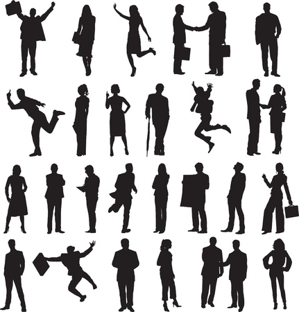 set of silhouettes of business people in different situations