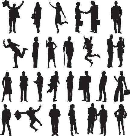 set van silhouetten van mensen uit het bedrijfsleven in verschillende situaties