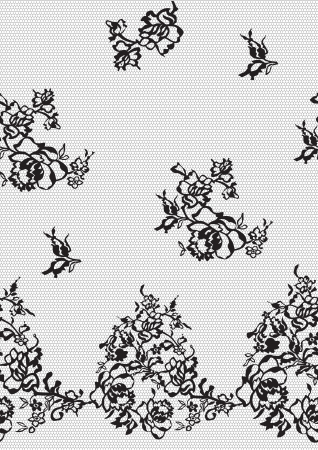 Seamless background of black lace on a white background with flowers