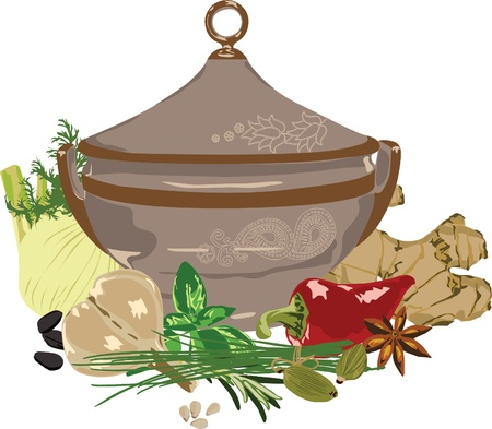still life of foods and spices on a white background Vector