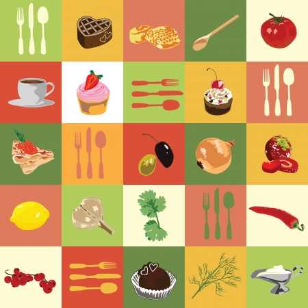 kitchen cooking: background of colored squares with food ingredients