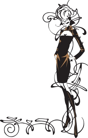 couture: sketch a girl on a background pattern Illustration