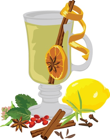 still life tea and spices on a white background Illustration