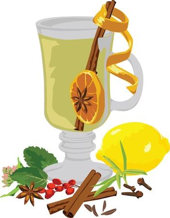 Stillleben Tee und Gewürze auf weißem Hintergrund