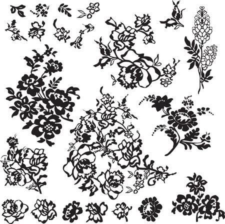 set of floral patterns for decoration
