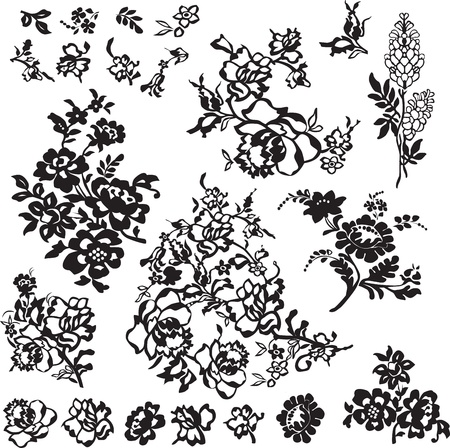 black lace: set of floral patterns for decoration