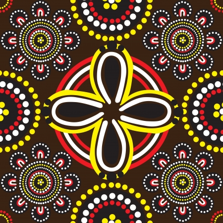 seamless background with ornament of Australian Aborigines Vector