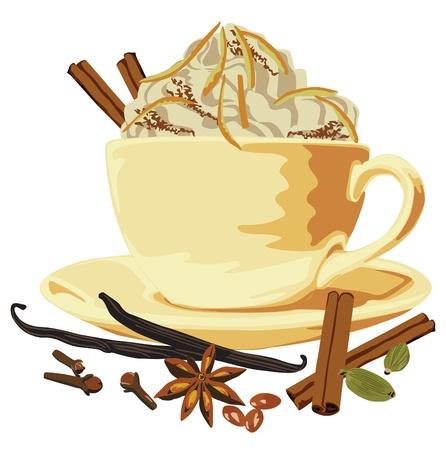 breaks: taza de caf� con leche y especias sobre un fondo blanco