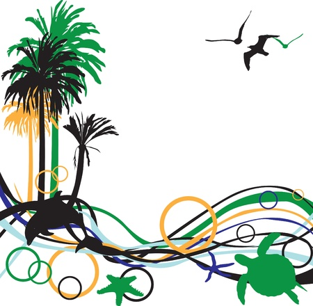 abstract background with palm trees and tropical inhabitants Illustration