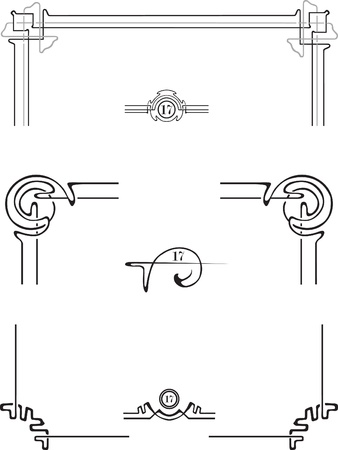hoekversiering: voor de decoratie van de pagina hoeken en folio Stock Illustratie