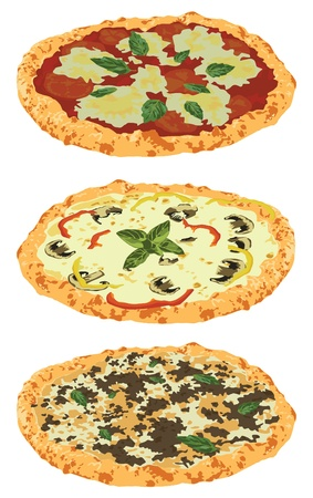 bolognese: three kinds of pizza on a white background