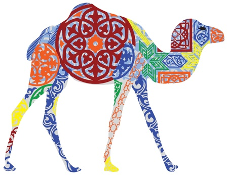 camello: silueta de un camello en el ornamento nacional árabe Vectores