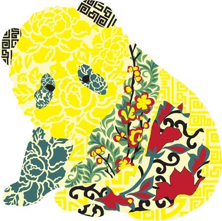 Silhouette pandas with Chinese ornament Ilustração