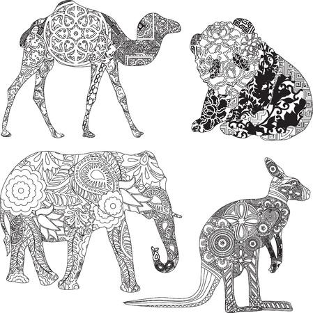 vier dieren in etnische ornamenten Stock Illustratie