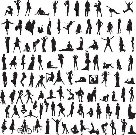 diferentes profesiones: m�s de 100 siluetas diferentes de mujeres Vectores