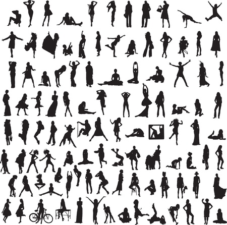people travelling: more than 100 different silhouettes of women