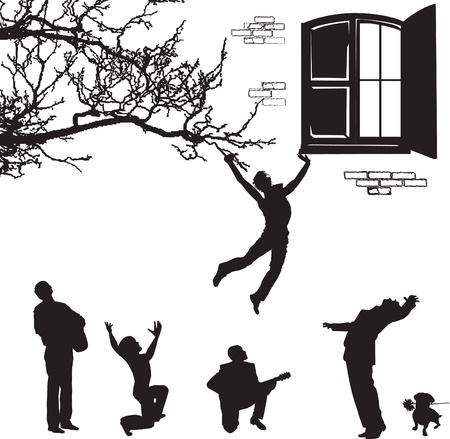 sehnsucht: liebe die Silhouetten von M�nnern unter dem Fenster Illustration