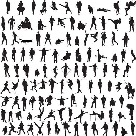 meer dan 100 verschillende silhouetten van mannen
