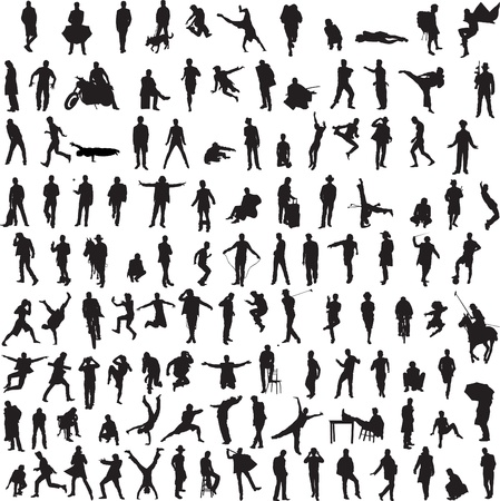 business people walking: more than 100 different silhouettes of men