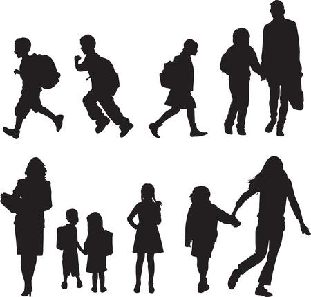 kind silhouet: silhouetten, kinderen lopen naar school Stock Illustratie