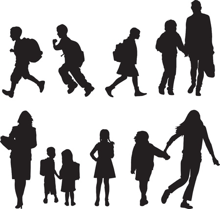 silhouettes, of children walking to school Illustration
