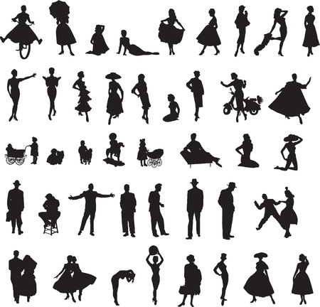 retro silhouettes of children, women, men Illustration