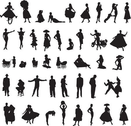 nbsp: retro silhouettes of children, women, men Illustration