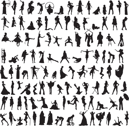 more than 100 different silhouettes of women Vector