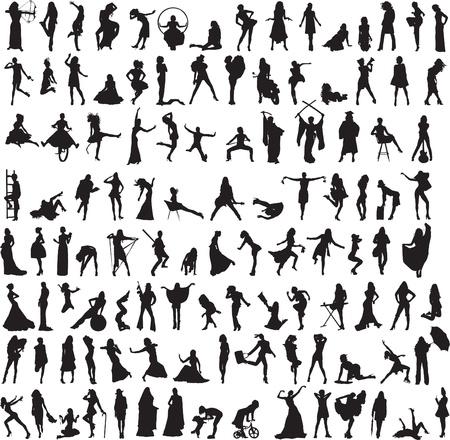 mehr als 100 verschiedene Silhouetten von Frauen