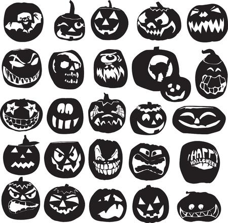 zucche halloween: diverso insieme di sagome di zucche di Halloween