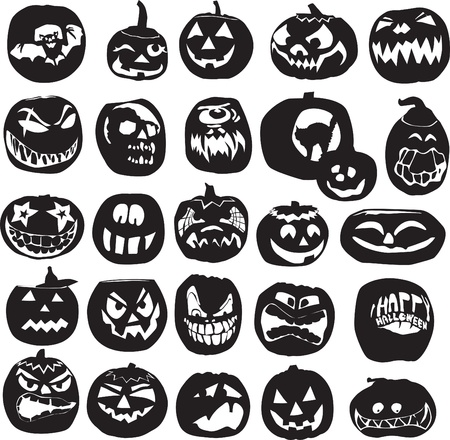 diverse set of silhouettes of Halloween pumpkins Illustration