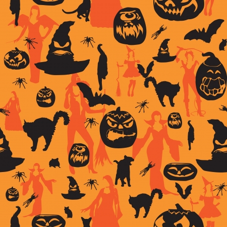 Seamless background with the symbols of the holiday Halloween Vector