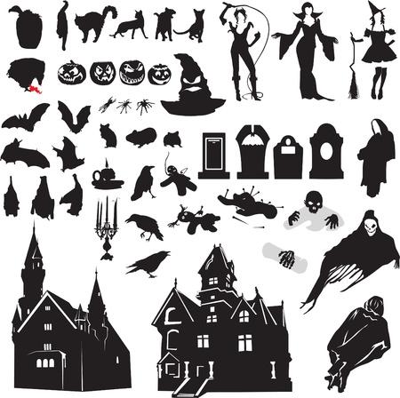 grote reeks van geïsoleerde silhouetten als symbool van Halloween Stock Illustratie