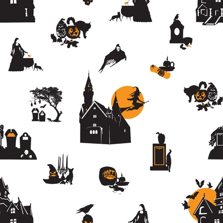 Seamless background with thumbnail personifying Halloween Vector