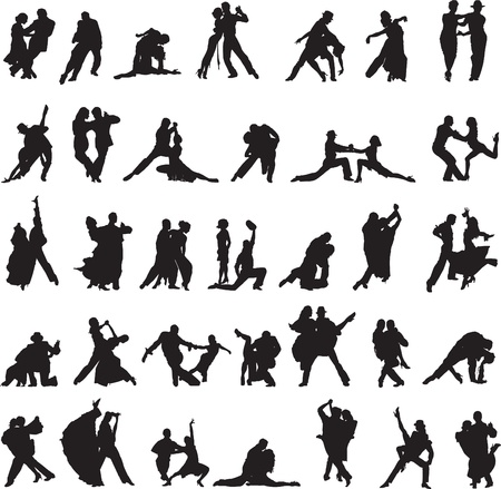 Collection of silhouettes with different movements of tango Vettoriali