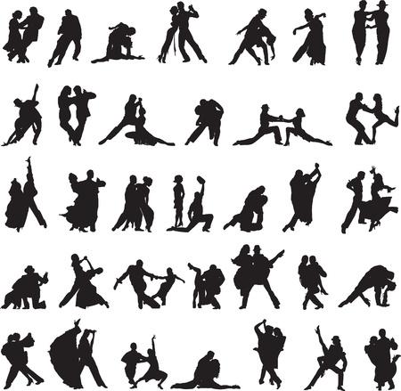 Verzameling van silhouetten met verschillende bewegingen van de tango Stock Illustratie