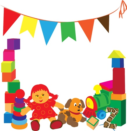 pl�schtier: heller Rahmen mit verschiedenen Spielsachen