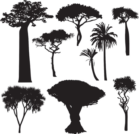 set of silhouettes of African trees
